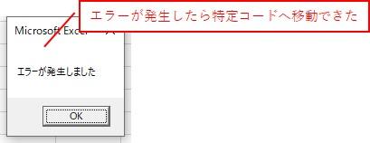 エラーが発生したので、「On Error Goto」を使って、「B」に移動してメッセージを表示できました