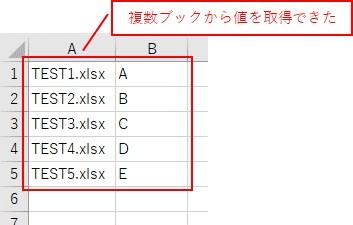 複数ファイルを開いて値を取得した結果