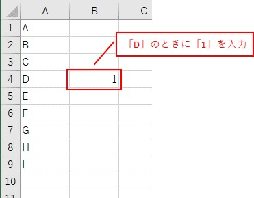 「ForとIf」を組み合わせて、「D」を探して、「1」を入力できました