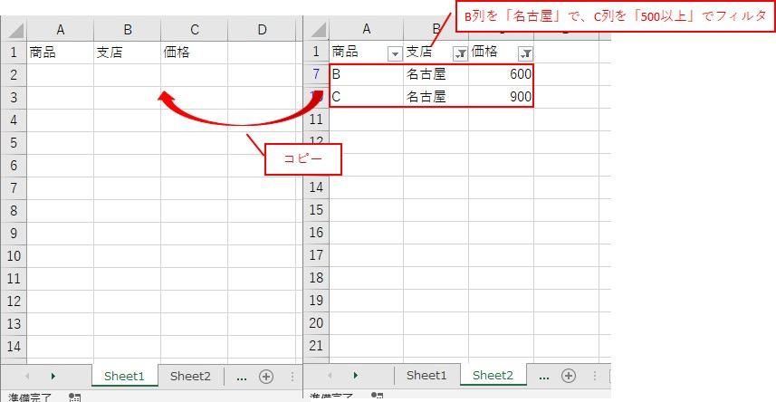 B列が「名古屋」で、C列が「500以上」をフィルタしてコピーします