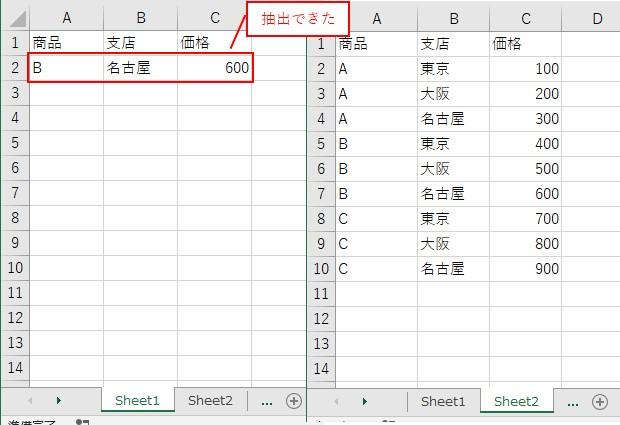 A列が「B」で、B列が「名古屋」を抽出できました