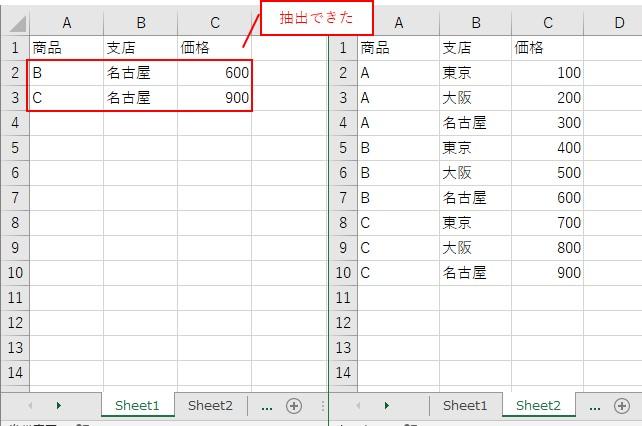 B列が「名古屋」で、C列が「500以上」を抽出できました