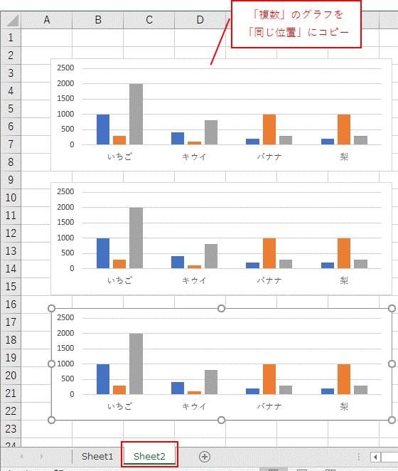 VBAで「複数」のグラフをコピーできました