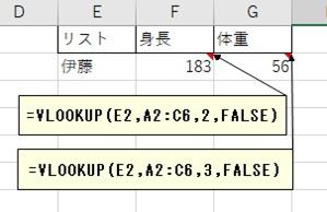 Vlookupで取得した値から列の値を取得