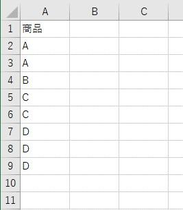 同じ値がある表を用意しました