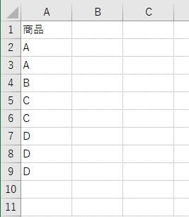 同じ値を入力した表を用意しておきます