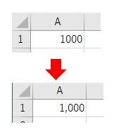 表示形式をNumberFormatLocalで桁区切りをした数値にした結果