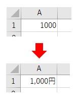 表示形式をNumberFormatLocalで円の通貨にした結果