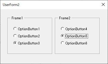 それぞれのグループのオプションボタンを選択する