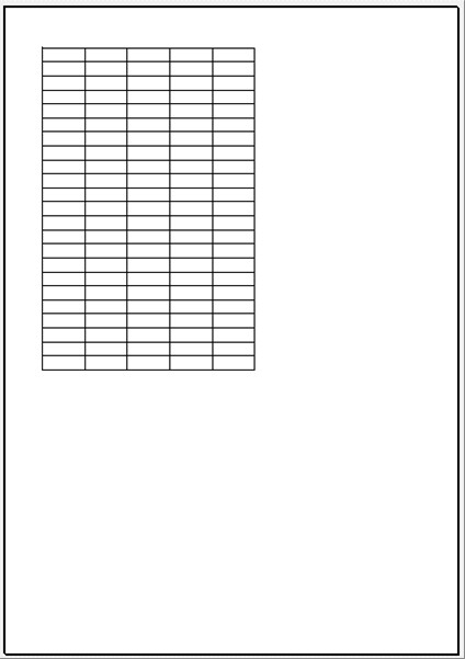 水平方向に中央配置する前の印刷画面