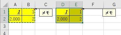 値と書式、そして列幅が貼り付けられる