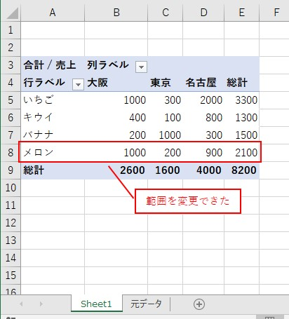 VBAでピボットテーブルの元データの範囲を変更する