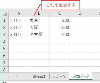 追加データのシートのデータを追加する
