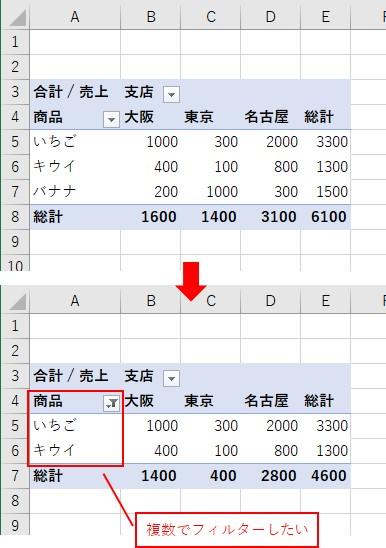 ピボットテーブルのラベルを複数の項目でフィルターしたい