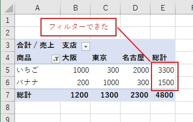 VBAでピボットテーブルの「商品」の値をフィルターできた