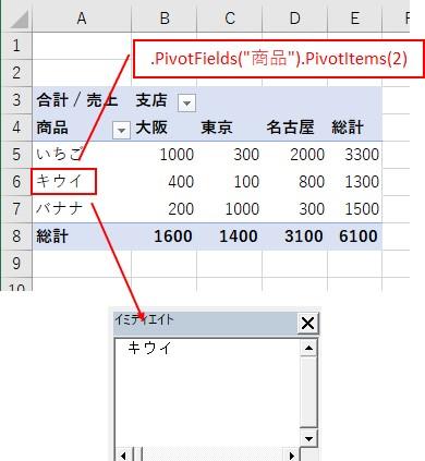 VBAでピボットテーブルの商品ラベルの2項目目を取得できた