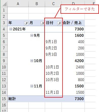 VBAでピボットテーブルの日付を「2021/9/1」~「2021/11/1」でフィルターできた