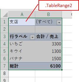 VBAで「フィルターフィールドを含むピボットテーブル全体」を取得できた