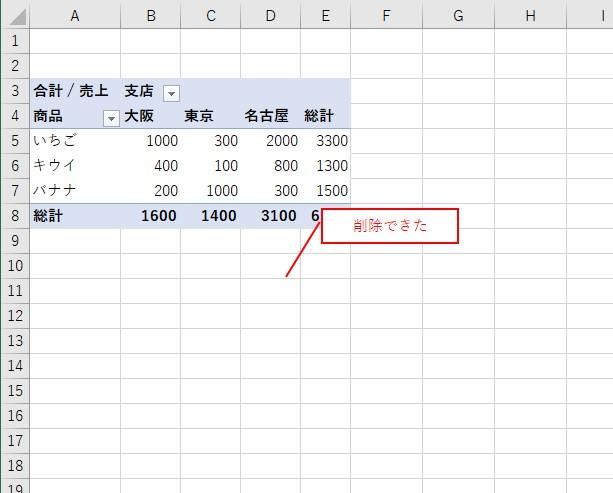 VBAでピボットグラフを選択して削除できた