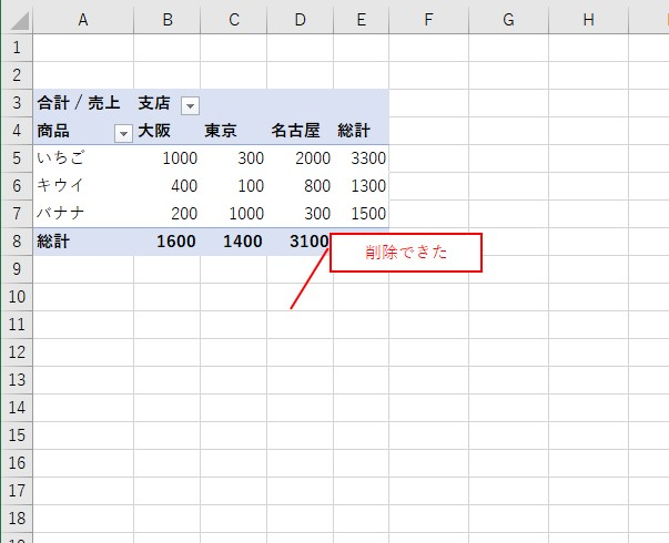 VBAでピボットグラフを指定して削除できた