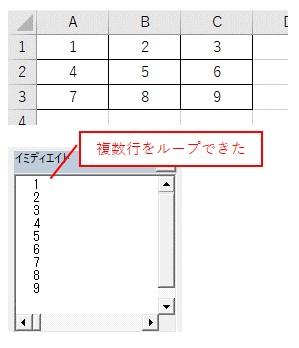 For Eachで複数行と複数列のセル範囲を全てループした結果