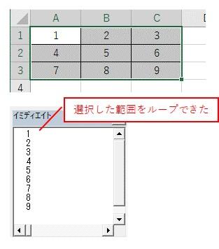 Selectionで選択したセル範囲から、For Eachを使って、値を取得した結果