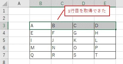 Rangeで取得したセル範囲の、最初の行を選択した結果