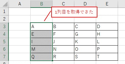 Rangeで取得したセル範囲の、最初の列を選択した結果