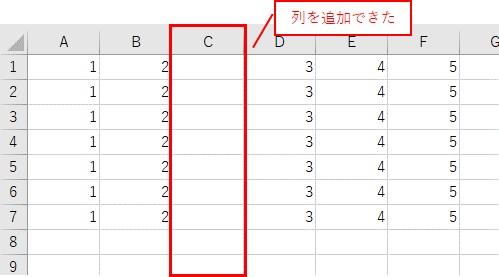 3行目に列を挿入した結果