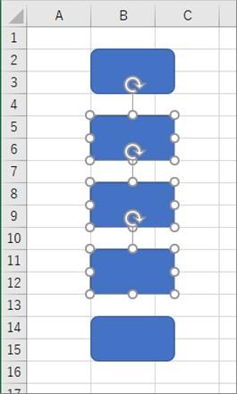 選択したセル範囲にある図形を選択