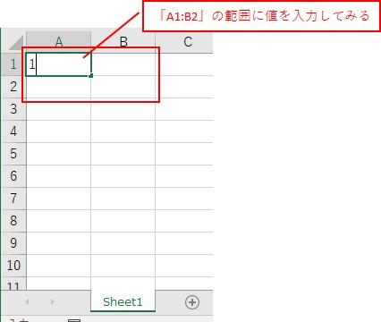 「A1:B2」の範囲の「A1」に値を入力してみます