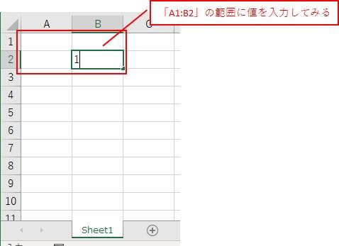 「A1:B2」の範囲の「B2」に値を入力してみます