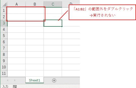「A1:B2」の範囲外の「C3」をダブルクリックした場合は、メッセージは表示されません