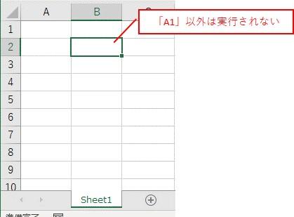 選択セルを「A1」以外に変更しても、マクロは実行されないです