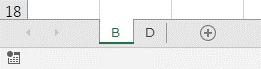 シート名がBもしくはD以外のシートを非表示にする