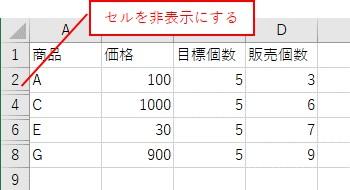 表の一部を非表示にした表を用意