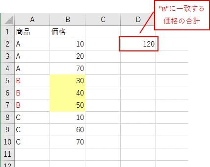数式を埋め込んで「SumIf関数」を使った結果