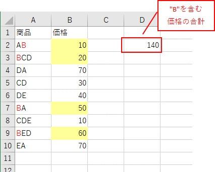 埋め込みの「SumIf関数」でワイルドカードを使った結果