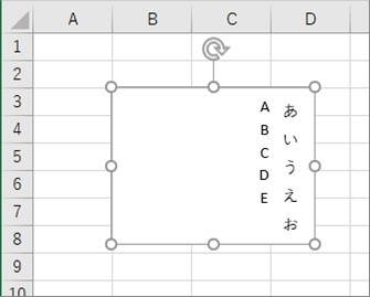 テキストボックスをアルファベットも含めて縦書きにした結果