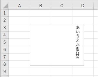 テキストボックスをオブジェクトに格納して文字方向を縦書きに変更した結果
