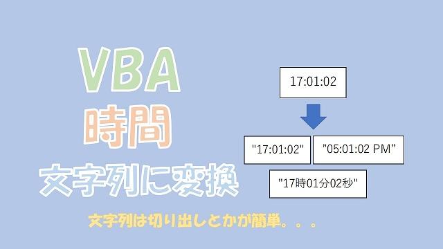 【VBA】時間を文字列に変換【CStrとFormatがあります】