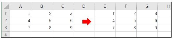 UBoundを使って配列をセルに貼り付けた結果