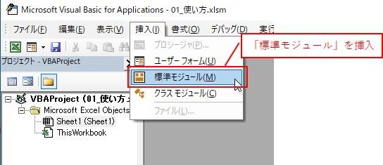 「挿入」タブ→「標準モジュール」を選択します