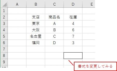 セルの書式を変更してみた表